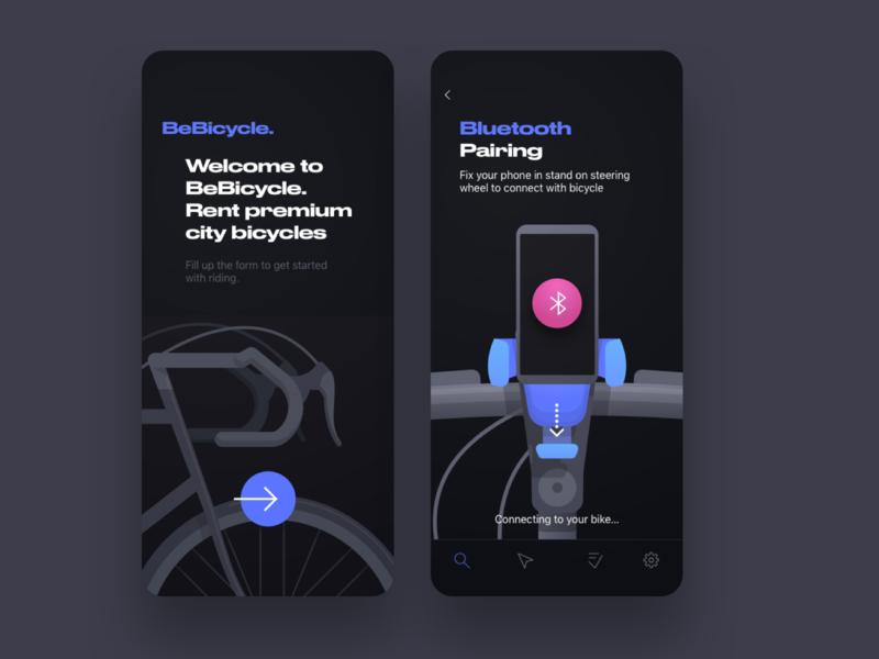 Bebicycle. Premium city bikes rental rental app rentals pairing bluetooth bicycle bike cycle cycling mobile app ux ui illustration uxui