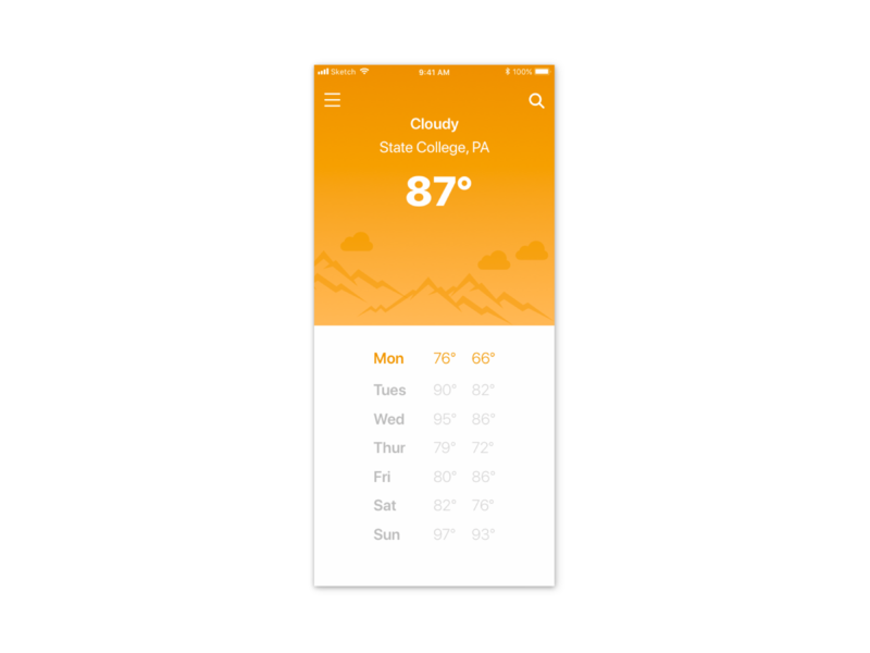 Weather App Design mobile app development utilities ios app design ios mobile app mobile weather weather app minimal art graphic  design illustration design flat design