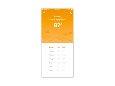 Weather App Design mobile app development utilities ios app design ios mobile app mobile weather weather app minimal art graphic  design illustration design flat design