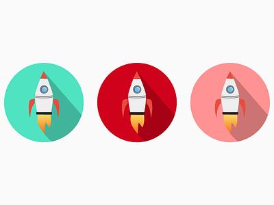 3 Rockets icon cartoon flat design visual design graphic art space design logo 2d logo minimal logos rocket rocketship
