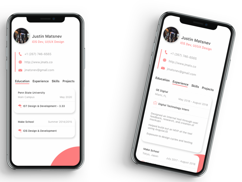 Visual Resume App design mobile design resume ios app design ios app