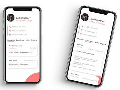 Visual Resume App design mobile design resume ios app design ios app