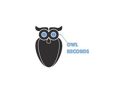 Owl Records Music Logo animallogo owllogo musiclogo pastel colors cartoon minimal art branding logo icon graphic  design graphic art illustration design flat design