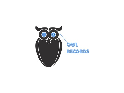 Owl Records Music Logo animallogo owllogo musiclogo pastel colors cartoon minimal art branding logo icon graphic  design graphic art illustration design flat design