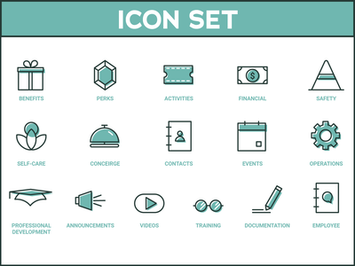 internal iconset illustrator financial perks benefits internal employee training component filed offset outline library linear ios line icon artwork icon design iconography consistent brand icon