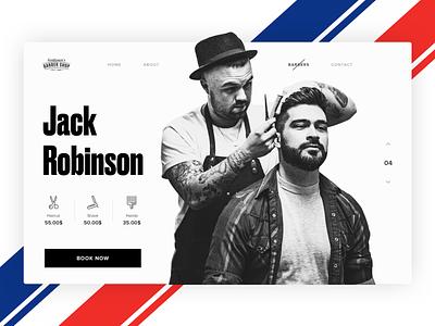 Barbershop site concept concept simple sketch barbershop barber minimal website web branding ui design