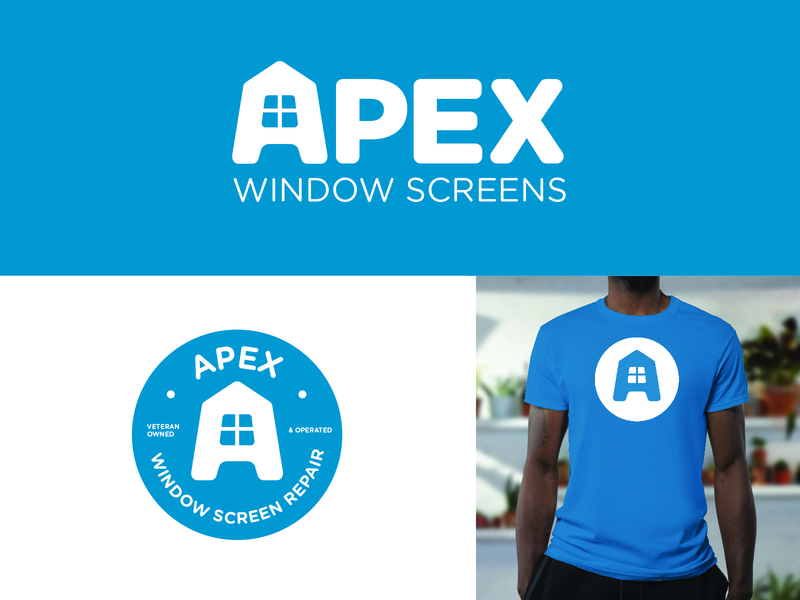 Apex Window Screens badge logodesign design branding business window screen logo