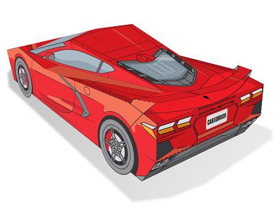 C8 Corvette Papercraft cars paper craft paper art papertoy editorial illustration technical illustration vector papercraft illustration
