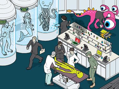 Area 51 laptop advertising sci-fi top secret aliens swamp creature monsters mermaid illustration technical illustration