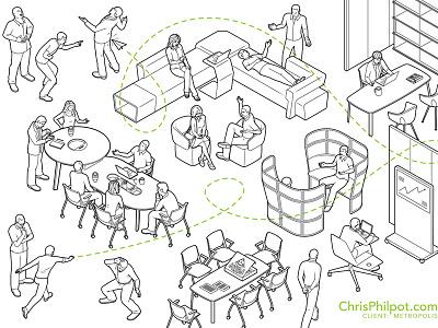 Haworth furniture for Metropolis design furniture vector lineart illustration technical illustration editorial illustration
