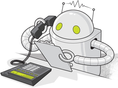 Robocalls for Consumer Reports marketing business robocalls robot editorial illustration information graphics line art technical illustration vector illustration