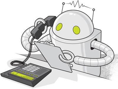 Robocalls for Consumer Reports marketing business robocalls robot editorial illustration information graphics line art technical illustration vector illustration
