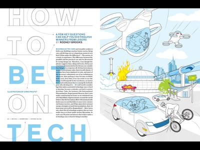 How To Bet on Tech science illustration science fiction science technology infographic business design vector how-to information graphics line art technical illustration editorial illustration illustration
