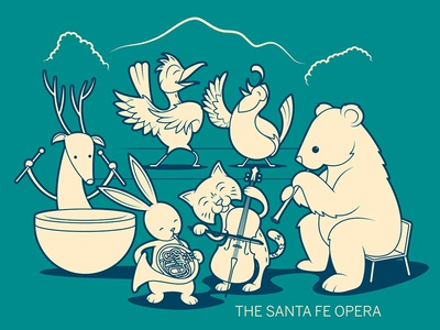 Animal Orchestra wildlife southwestern southwest orchestra characters kids animals music opera design vector illustration