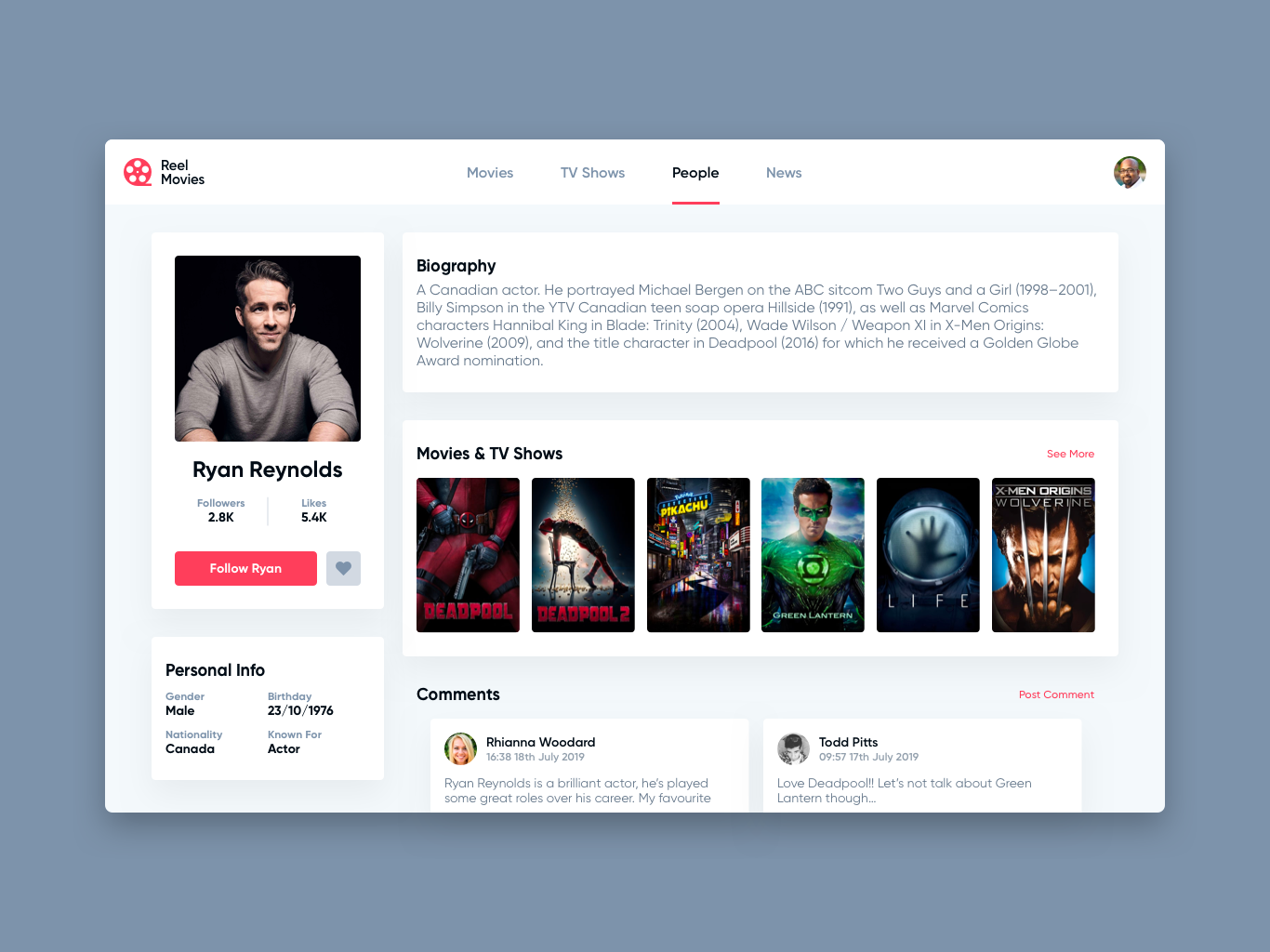 Daily UI Challenge #006 - User Profile tv shows tv show movies movie ryan reynolds user profile profile user daily ui