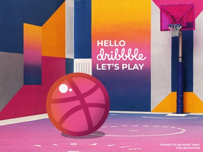 Hello Dribbble! invite design illustration first post firstshot first hi hello dribble hello debut shot debut