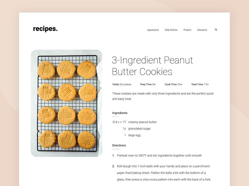 Daily UI 040: Recipe design ux ui directions ingredients blog recipe 040 dailyui
