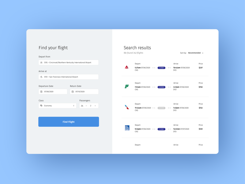 Daily UI 068: Flight Search design ux ui booking flight booking parameters tickets airline search flight search flight 068 dailyui