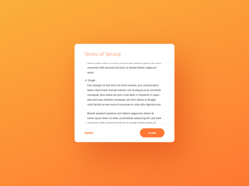 Daily UI 089: Terms of Service gradient design ux ui modal terms and conditions usage agreement service terms of service terms 089 dailyui