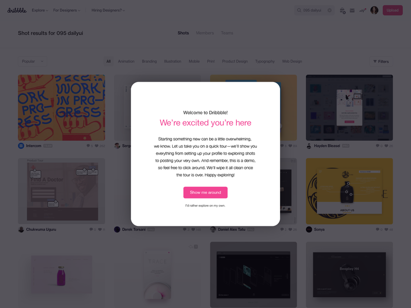 Daily UI 095: Product Tour design ux ui dribbble modal welcome tutorial tour product 095 dailyui