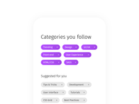 Daily UI 099: Categories design ux ui delete add tags subscribe follow category categories 099 dailyui