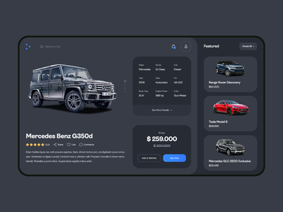 Car E-Commerce Website Product Screen interface ux ui product product page user experience user interface design e commerce website car ui design uxdesign uidesign ux clean ui dark ui clean car