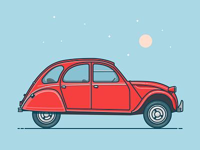 Citroën 2CV Illustration vintage vehicle vector flat illustration lineart citroen car artwork clean 2d