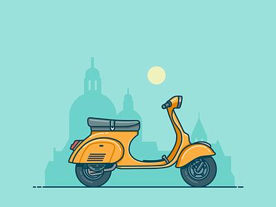 Vespa Illustration lineart scooter vehicle artwork vector illustration vector vintage 2d illustration vespa clean