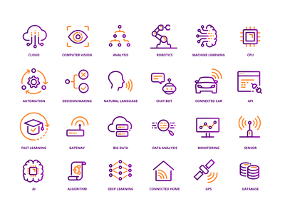 IoT Icons icon set iot lineart clean 2d icon icons pack