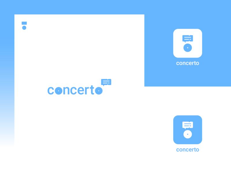 Concerto logo logo light blue dribbbleinvitation dribbbleinvite startup messenger ticket concert music process concept monogram logomark flat logodesign logoaday logochallenge logocore