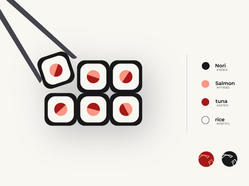 Sushizen color guideline sushi logotype logocore logo design logomark concept process brand identity merouane bellaha simple flat coral brand guideline palette logo branding brand