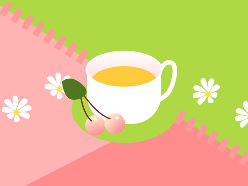 Picnic-cup of tea cherry flower tea cups picnic green color 插图 draw design dessin illustration