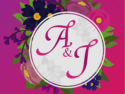 Aj pink typography flower logo flower branding vector design natural logo ai