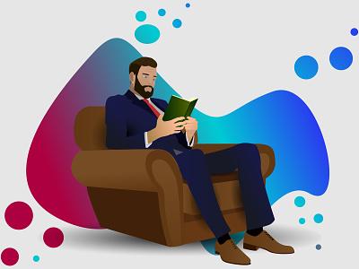 Readman beard man shoes siting sofa book read reading bisnes tie suit humans human illustration design branding logo ai