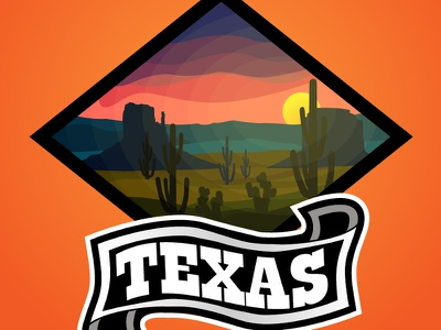 Texas branding design sunset mount cactus landscape design landscape illustration natural logo ai