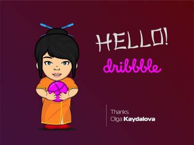 Hello dribbble branding web ai ui ux illustration logo vector kind blue eyes little girl thanks girl china invite debut hello dribbble
