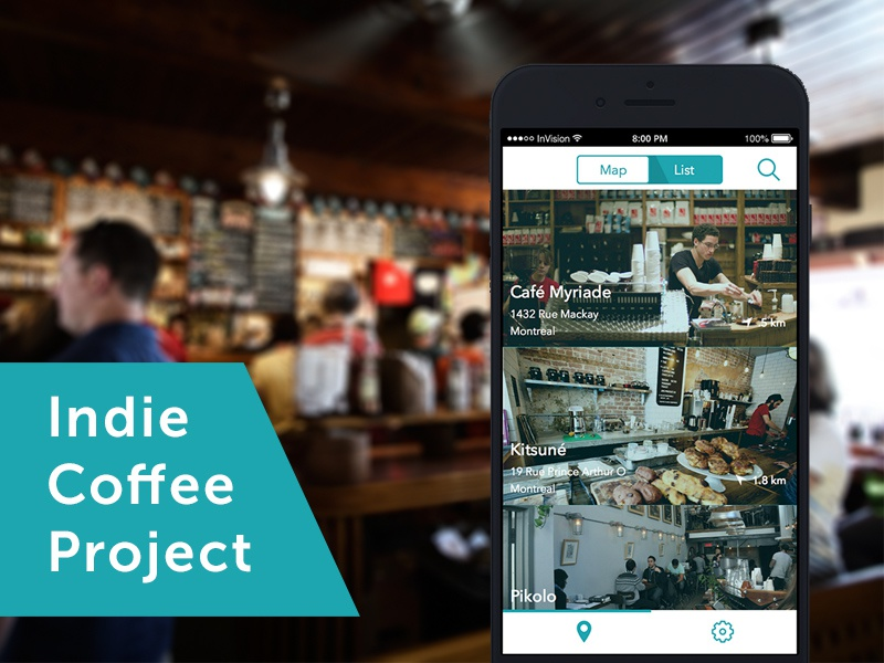 Indie Coffee Project montreal developer unsplash hipster independent location app teal ui ux coffee