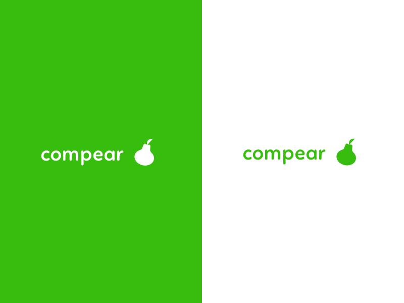 Logo Explorations compear compair green pear fruit logo