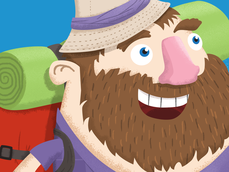 Happy Hiker hiker illustration beard backpacking happy