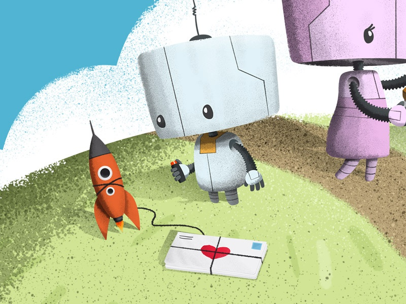 And More Robots robots rocket mail illustration