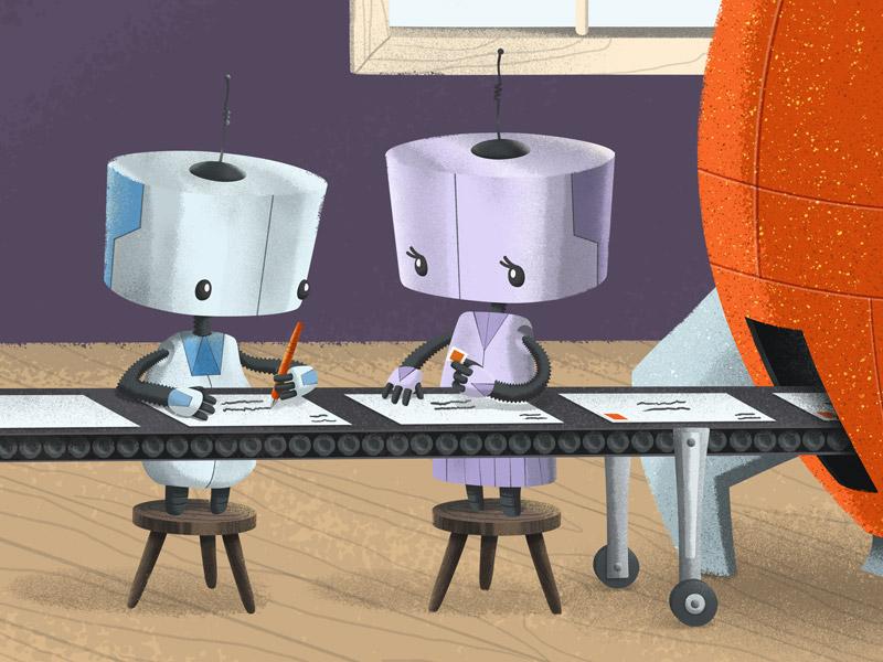 More Robot Illustrations For A Client letters factory robots