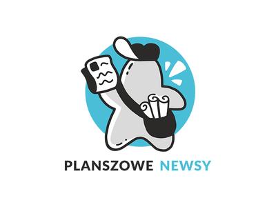 Board Game News - Logo top cartoon postman newspaper logotype logo news game board