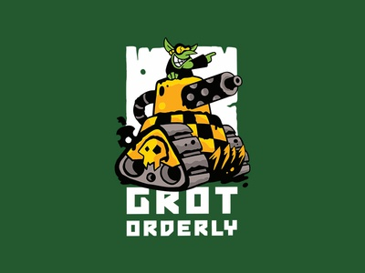 Grot Orderly Logo tank goblin ork cartoon design warhammer miniature game logo