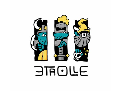 3 Trolls Logo tabletop boardgame board illustration geek cartoon comic kids cartoon fantasy top logo