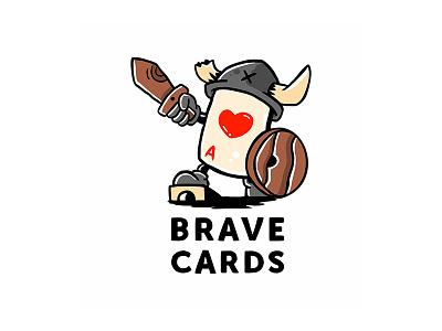 Brave Cards Logo cartoon illustration viking cards design game card  game cardstock vector ideas logotype logo cards