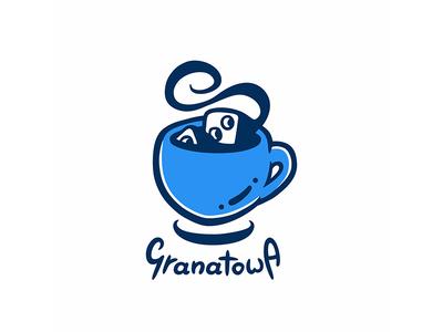 Granatowa Logo branding retro art board game cartoon illustration logo