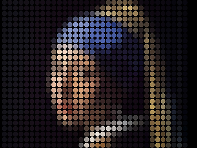 """Vermeer's painting """"Girl with a Pearl Earring"""" into dots."""