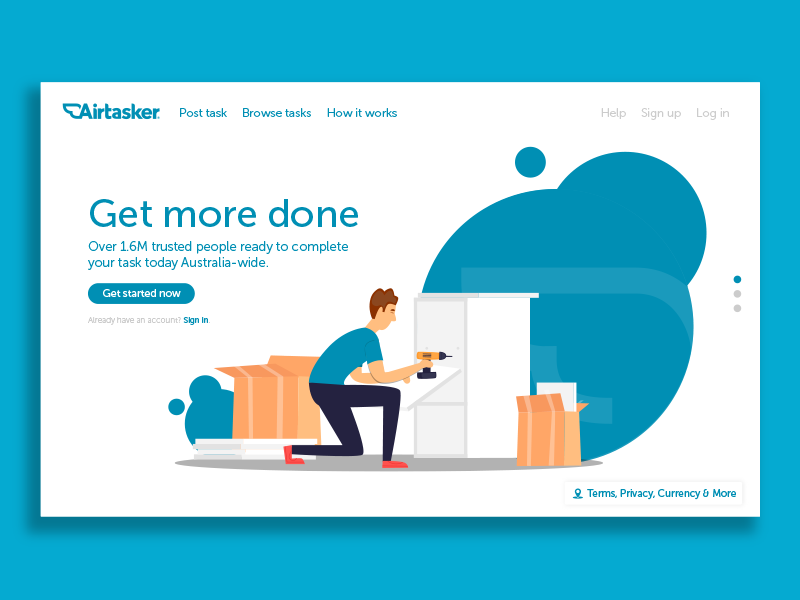 Airtasker Landing Page UI Concept by Ben Paterson on Dribbble