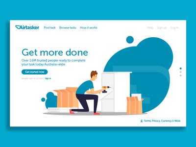 Airtasker Landing Page UI Concept website airtasker minimilist ux web dev web design ui