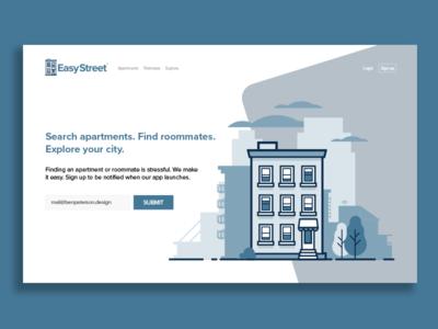 EasyStreet Landing Page UI concept social website web dev login landing page ui ux